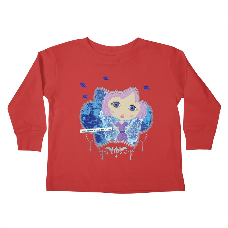 With Brave Wings She Flies Kids Toddler Longsleeve T-Shirt by LittleMissTyne's Artist Shop