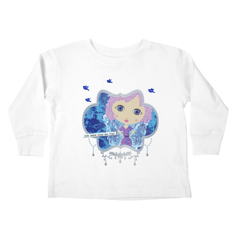 With Brave Wings She Flies Kids Toddler Longsleeve T-Shirt by LittleMissTyne's Artist Shop