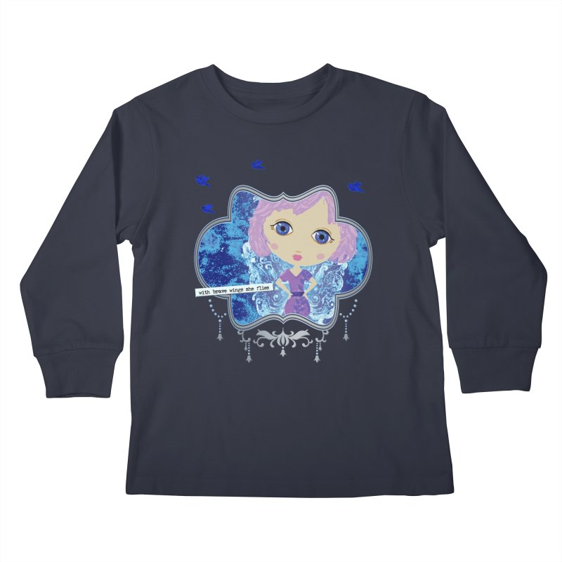 With Brave Wings She Flies Kids Longsleeve T-Shirt by LittleMissTyne's Artist Shop