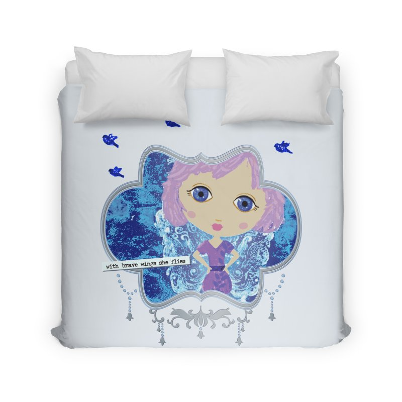With Brave Wings She Flies Home Duvet by LittleMissTyne's Artist Shop