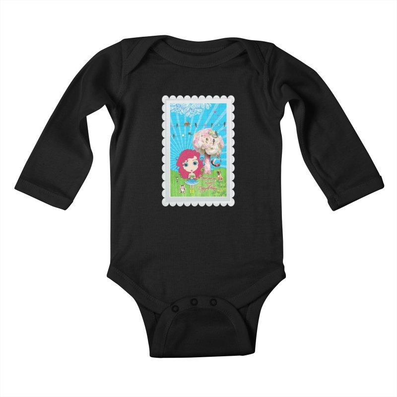 Daydreams Really Do Come True - Dark Haired Version Kids Baby Longsleeve Bodysuit by LittleMissTyne's Artist Shop