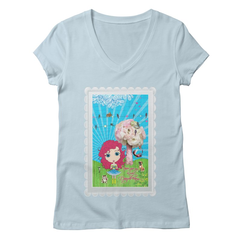 Daydreams Really Do Come True - Dark Haired Version Women's Regular V-Neck by LittleMissTyne's Artist Shop