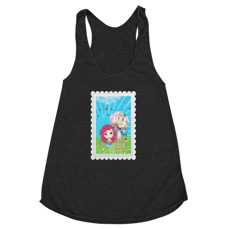 Daydreams Really Do Come True - Dark Haired Version Women's Racerback Triblend Tank by LittleMissTyne's Artist Shop