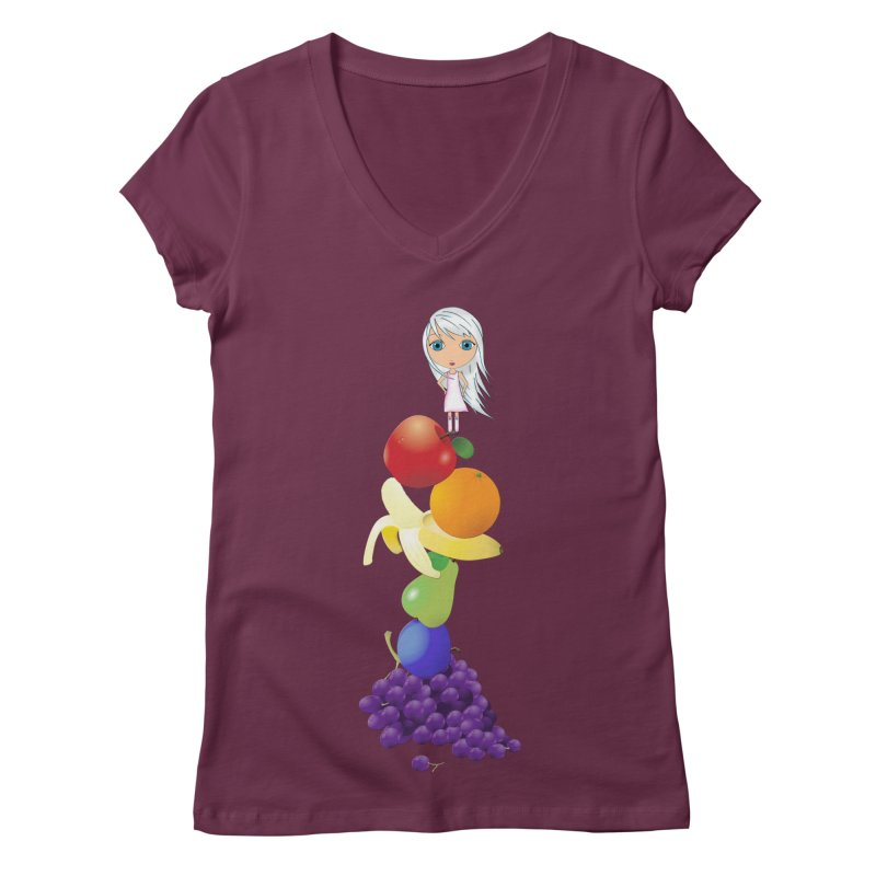 The Yummiest of Rainbows Women's Regular V-Neck by LittleMissTyne's Artist Shop