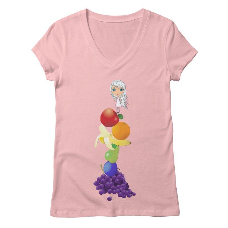 The Yummiest of Rainbows Women's Regular V-Neck by LittleMissTyne's Artist Shop