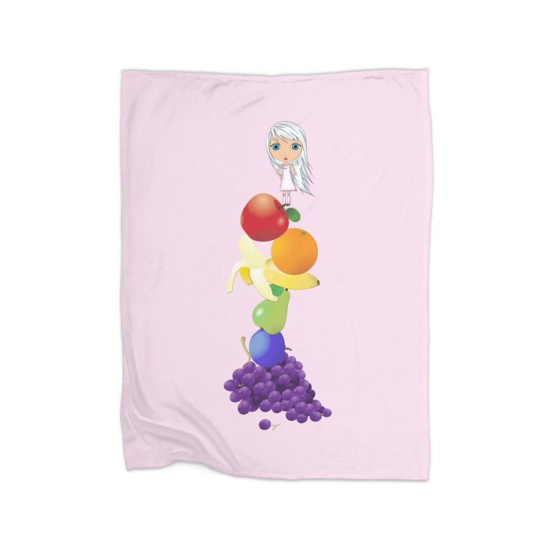 The Yummiest of Rainbows Home Fleece Blanket Blanket by LittleMissTyne's Artist Shop