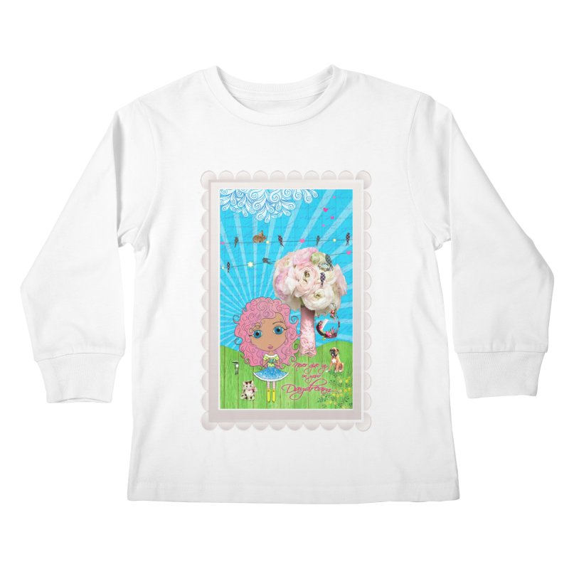 Daydreams Really Do Come True - Light Haired Version Kids Longsleeve T-Shirt by LittleMissTyne's Artist Shop