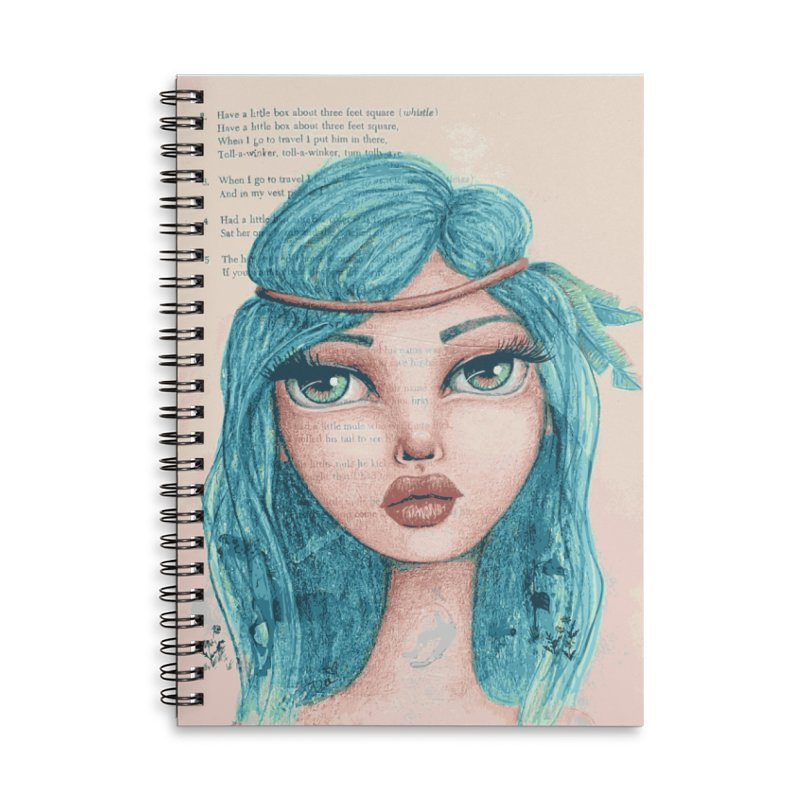 Feathers In Her Hair Accessories Notebook by Little Miss Tyne's Artist Shop
