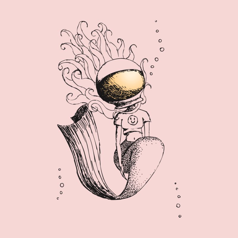 Mermaid Sketches Series: Astronaut Mermaid Men's T-Shirt by Little Miss Tyne's Artist Shop