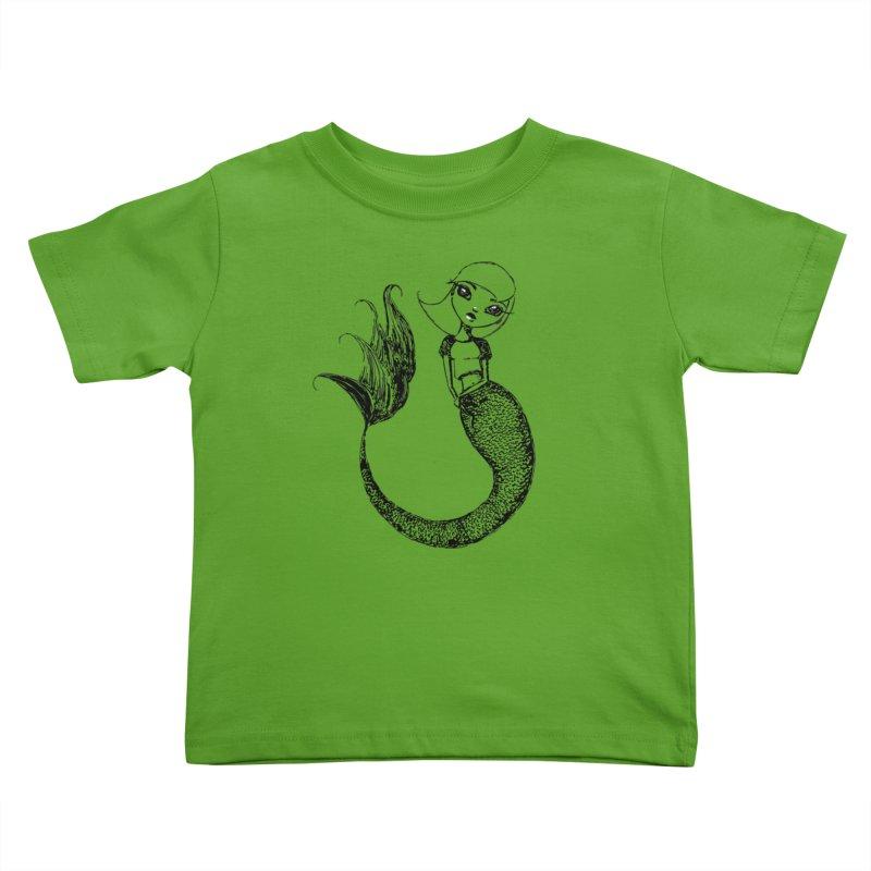 Mermaid Sketches Series: Sweet Mermaid Kids Toddler T-Shirt by Little Miss Tyne's Artist Shop