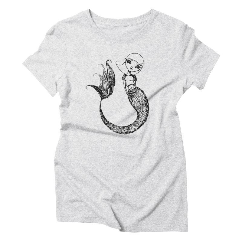 Mermaid Sketches Series: Sweet Mermaid Women's T-Shirt by Little Miss Tyne's Artist Shop