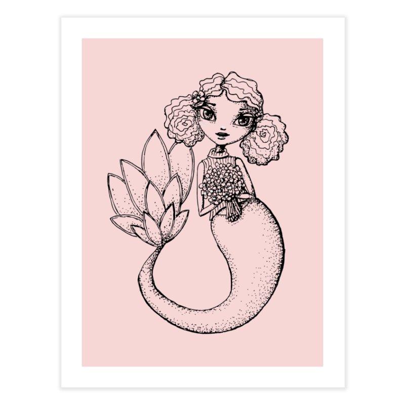 Mermaid Sketches Series: Flower Mermaid Home Fine Art Print by Little Miss Tyne's Artist Shop