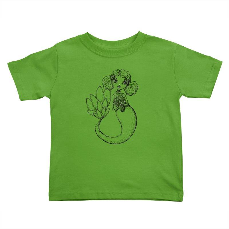 Mermaid Sketches Series: Flower Mermaid Kids Toddler T-Shirt by Little Miss Tyne's Artist Shop