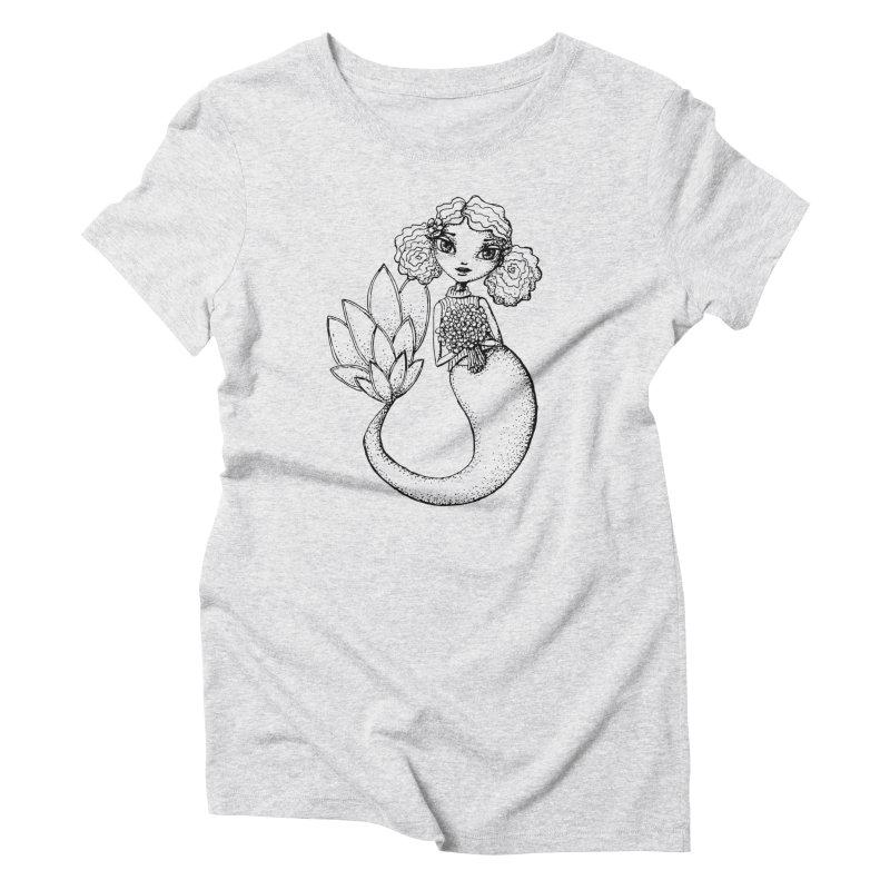 Mermaid Sketches Series: Flower Mermaid Women's T-Shirt by Little Miss Tyne's Artist Shop