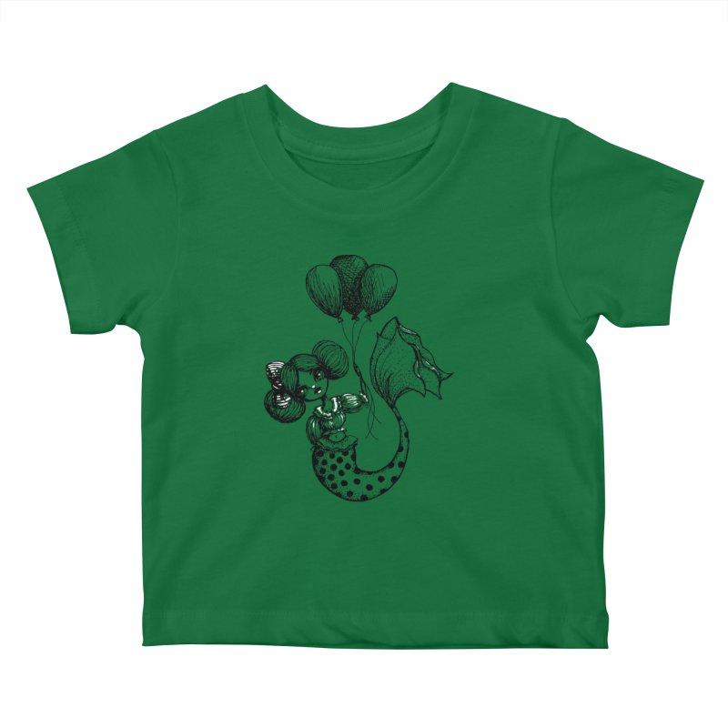 Mermaid Sketches Series: Carnival Mermaid Kids Baby T-Shirt by Little Miss Tyne's Artist Shop