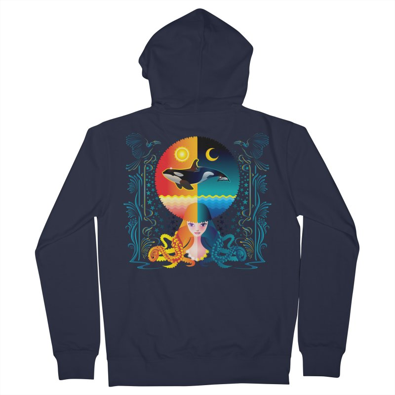 Day & Night: Dream of Whale Men's Zip-Up Hoody by Littlebitmoar's Artist Shop