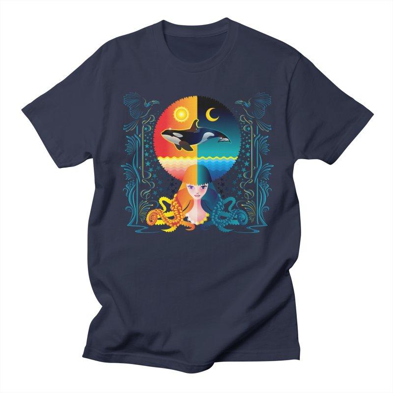Day & Night: Dream of Whale Men's Regular T-Shirt by Littlebitmoar's Artist Shop