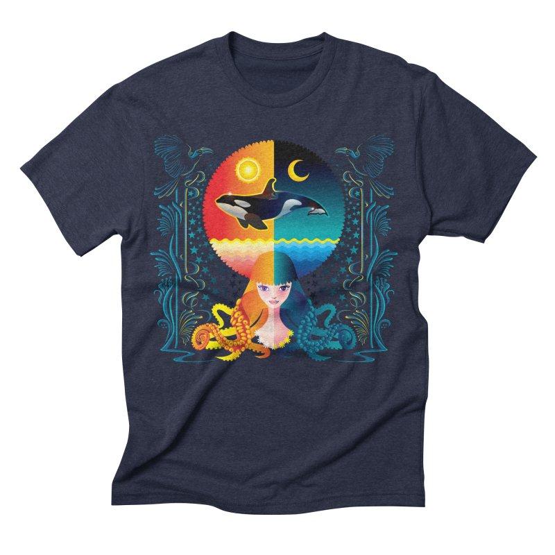 Day & Night: Dream of Whale Men's Triblend T-shirt by Littlebitmoar's Artist Shop