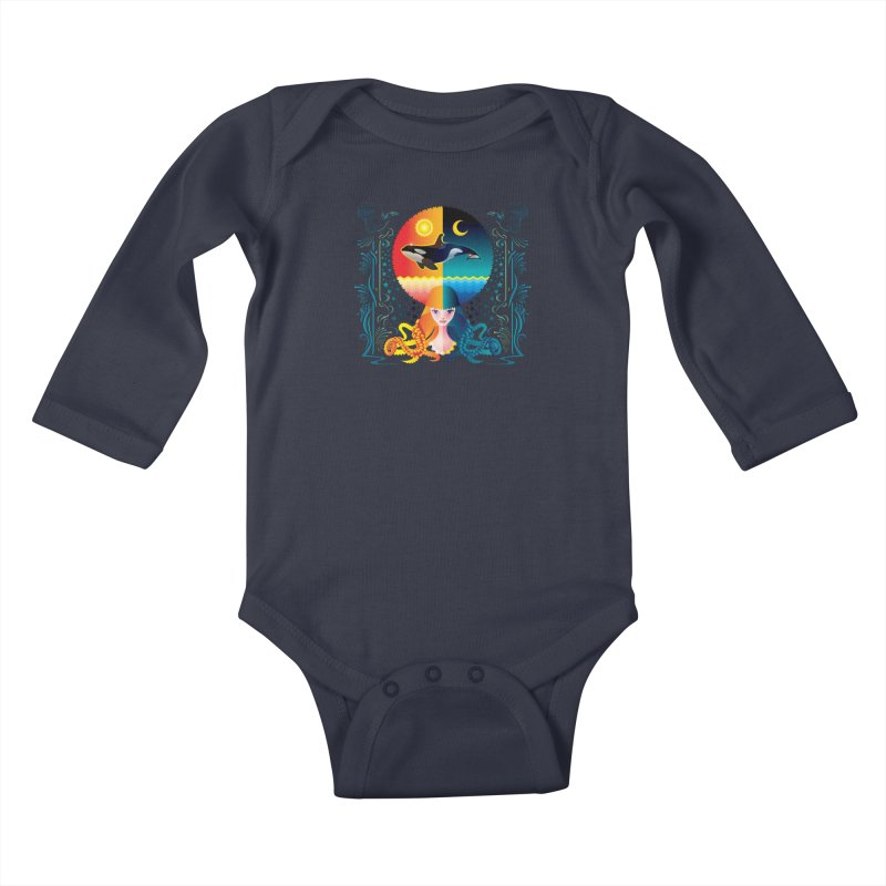 Day & Night: Dream of Whale Kids Baby Longsleeve Bodysuit by Littlebitmoar's Artist Shop