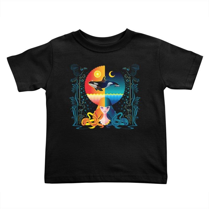 Day & Night: Dream of Whale Kids Toddler T-Shirt by Littlebitmoar's Artist Shop