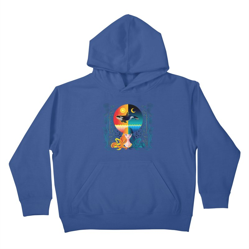Day & Night: Dream of Whale Kids Pullover Hoody by Littlebitmoar's Artist Shop