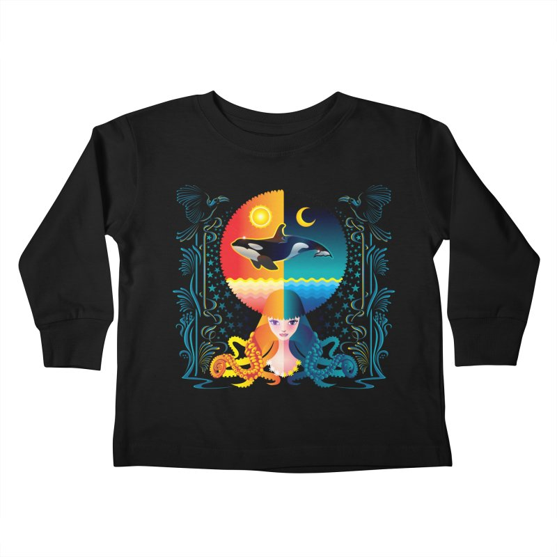 Day & Night: Dream of Whale Kids Toddler Longsleeve T-Shirt by Littlebitmoar's Artist Shop