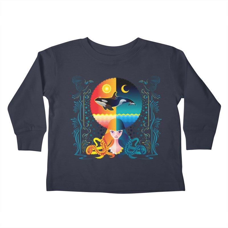 Day & Night: Dream of Whale Kids Toddler Longsleeve T-Shirt by Littlebitmoar's Artist Shop