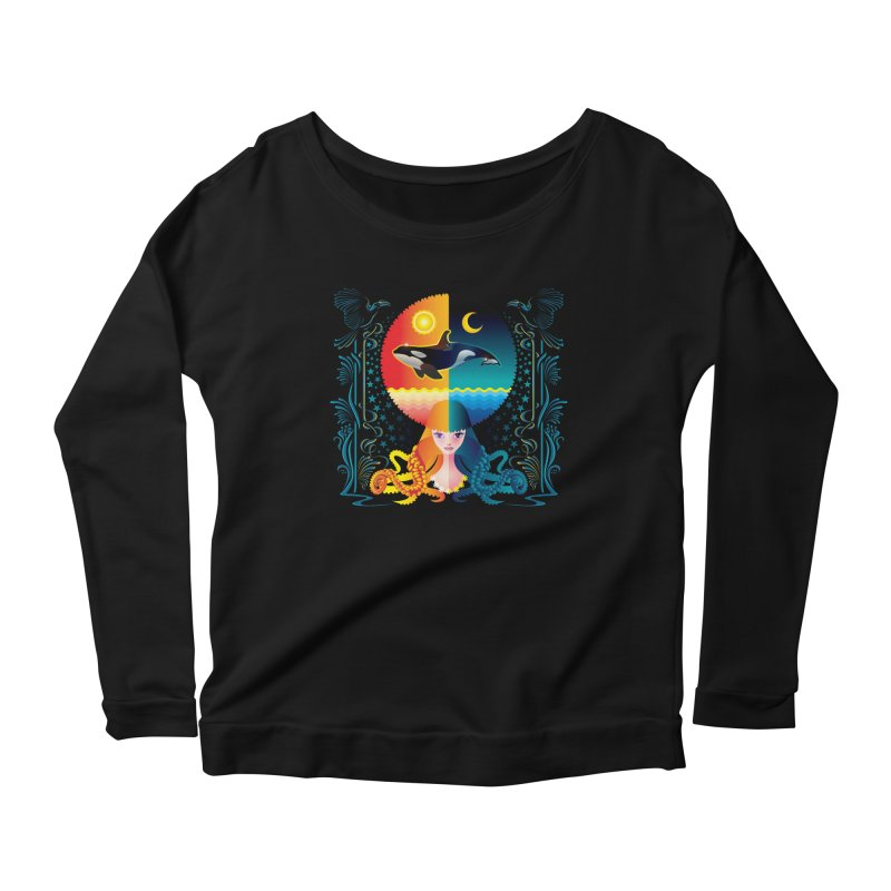 Day & Night: Dream of Whale Women's Longsleeve Scoopneck  by Littlebitmoar's Artist Shop
