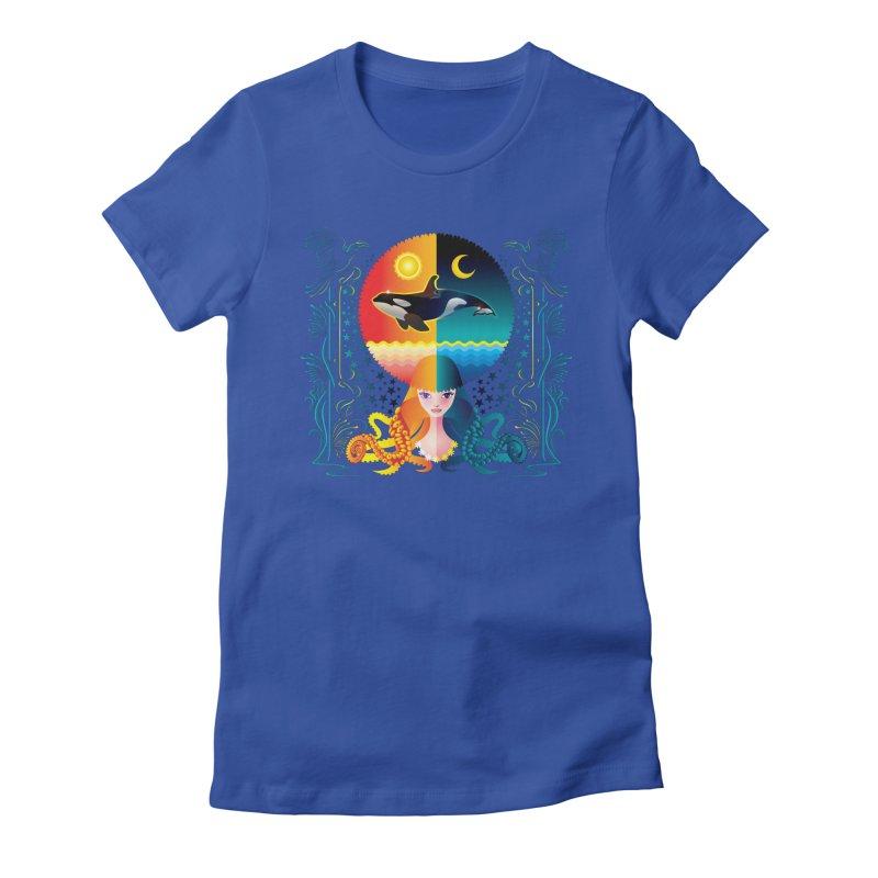Day & Night: Dream of Whale Women's Fitted T-Shirt by Littlebitmoar's Artist Shop