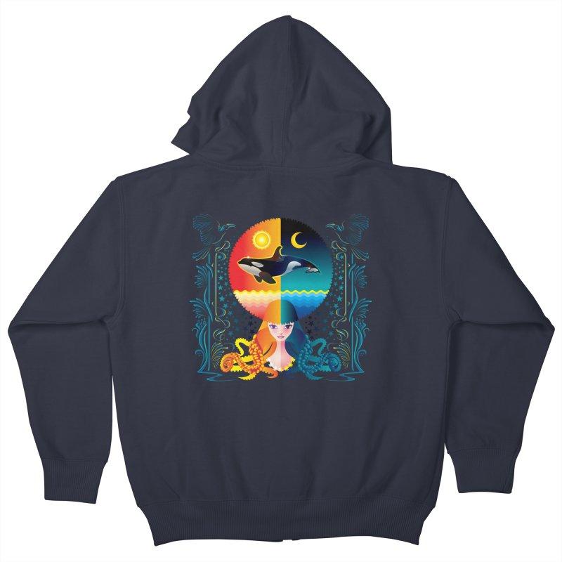 Day & Night: Dream of Whale Kids Zip-Up Hoody by Littlebitmoar's Artist Shop
