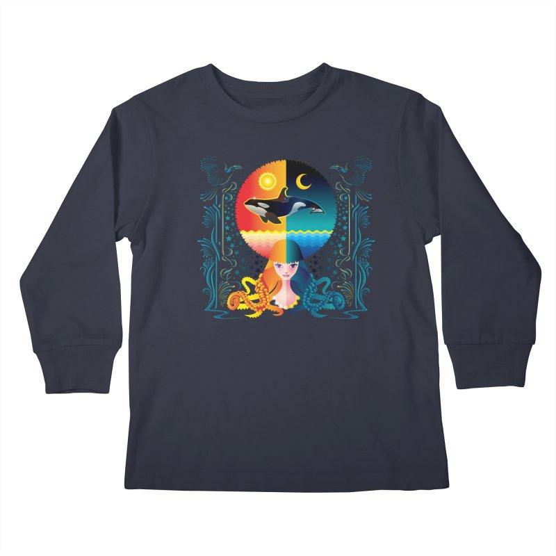 Day & Night: Dream of Whale Kids Longsleeve T-Shirt by Littlebitmoar's Artist Shop