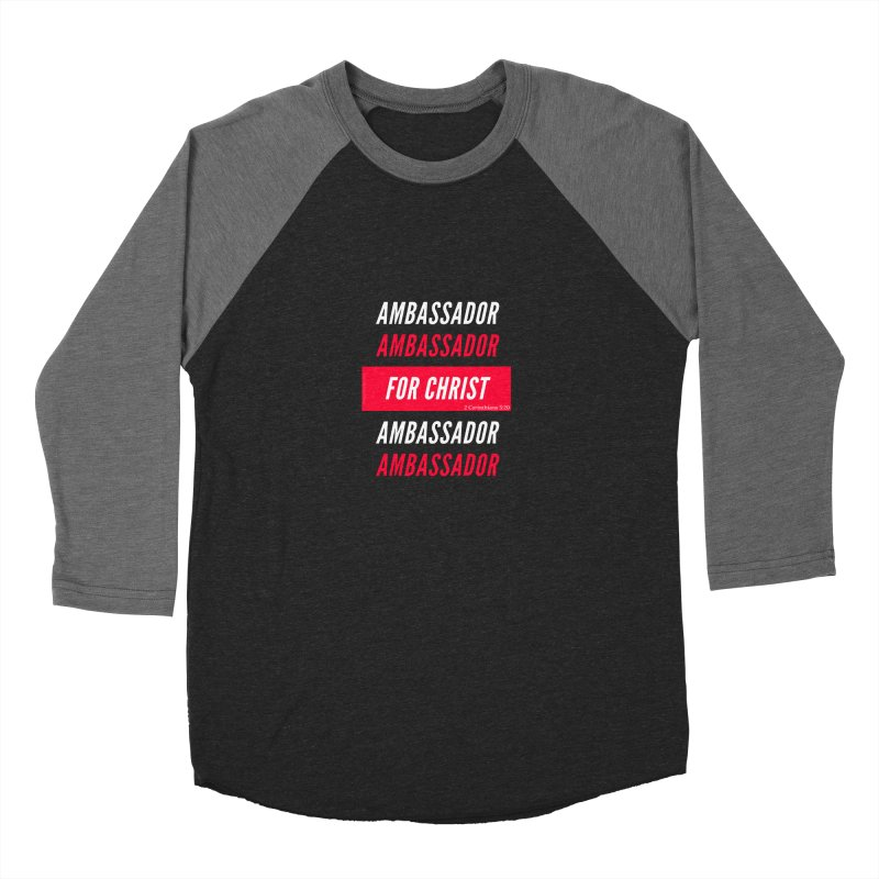 Ambassador For Christ White Letter Women's Baseball Triblend Longsleeve T-Shirt by Living Virtuous Boutique