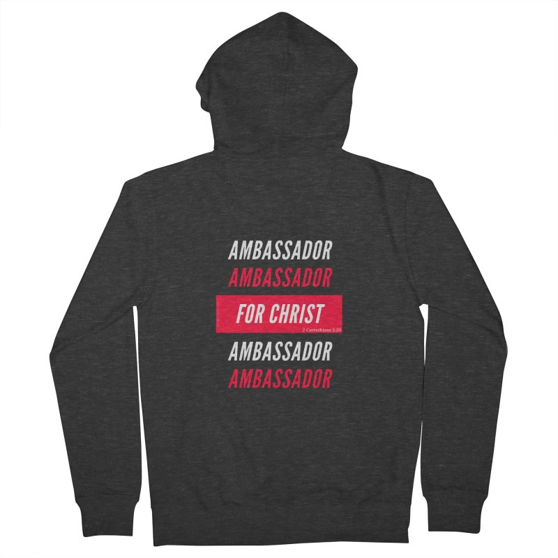 Ambassador For Christ White Letter Men's French Terry Zip-Up Hoody by Living Virtuous Boutique