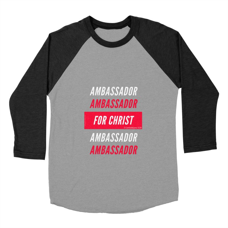 Ambassador For Christ White Letter in Men's Baseball Triblend Longsleeve T-Shirt Heather Onyx Sleeves by Living Virtuous Boutique