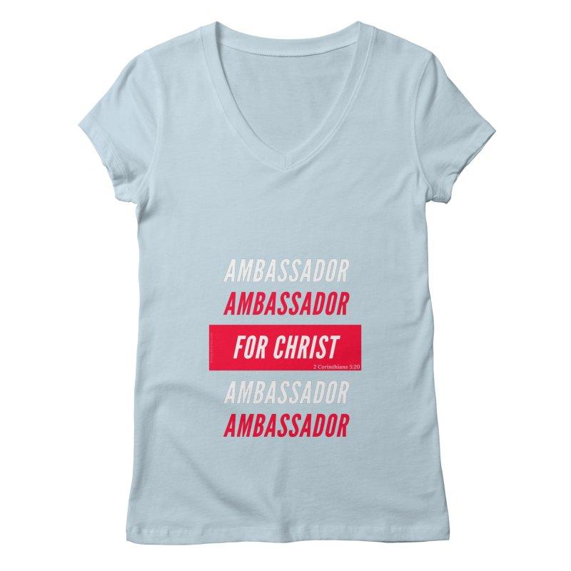 Ambassador For Christ White Letter Women's Regular V-Neck by Living Virtuous Boutique