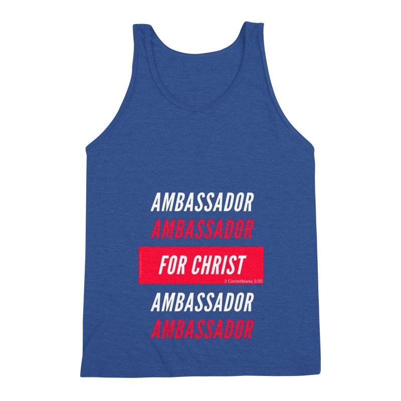 Ambassador For Christ White Letter Men's Triblend Tank by Living Virtuous Boutique