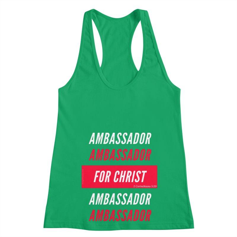 Ambassador For Christ White Letter Women's Racerback Tank by Living Virtuous Boutique