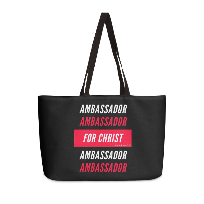 Ambassador For Christ White Letter Accessories Weekender Bag Bag by Living Virtuous Boutique