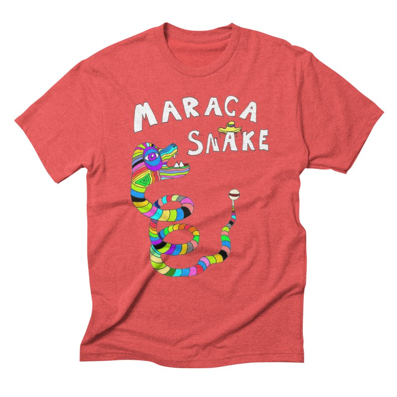 Maraca Snake in Men's Triblend T-Shirt Chili Red by LlamapajamaTs's Artist Shop