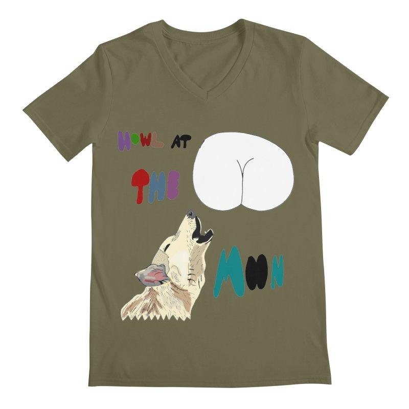 Howl at the Moon Men's V-Neck by LlamapajamaTs's Artist Shop