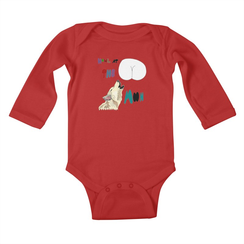 Howl at the Moon Kids Baby Longsleeve Bodysuit by LlamapajamaTs's Artist Shop