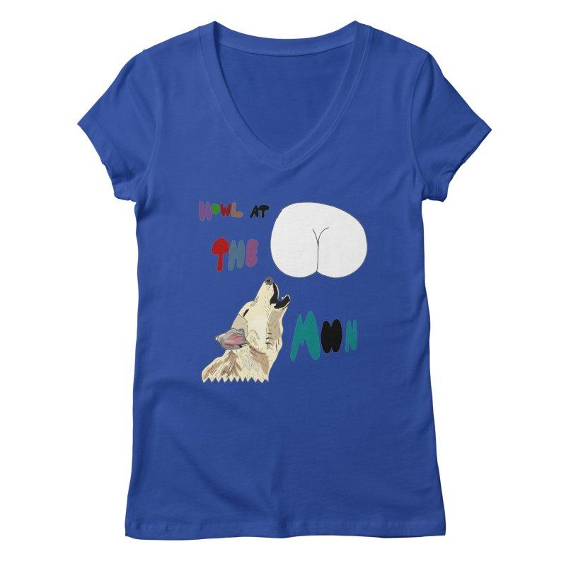Howl at the Moon Women's V-Neck by LlamapajamaTs's Artist Shop