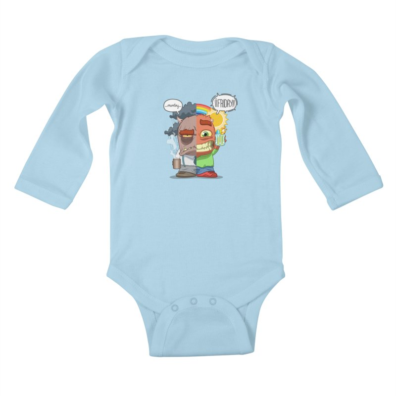 Dr. Monday and Mr. Friday Kids Baby Longsleeve Bodysuit by Llorch's Shop
