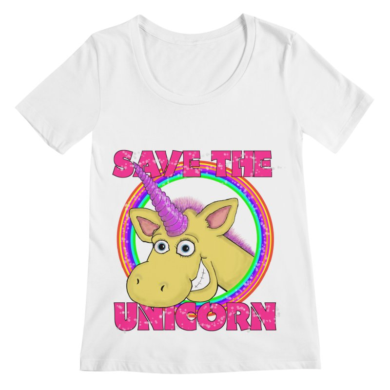 Save The Unicorn Women's Regular Scoop Neck by Loganferret's Artist Shop