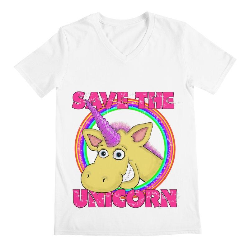 Save The Unicorn Men's Regular V-Neck by Loganferret's Artist Shop