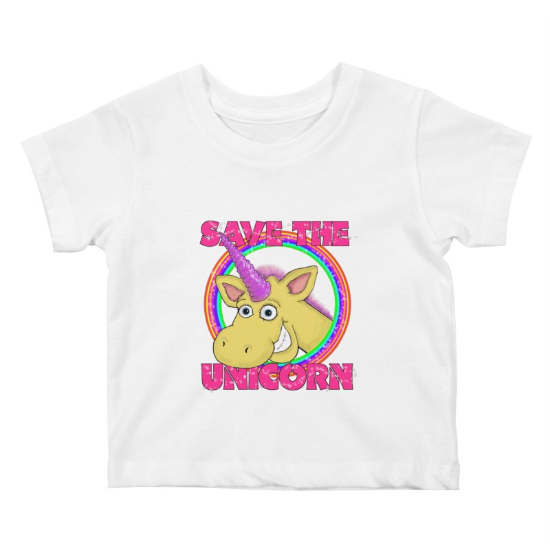Save The Unicorn Kids Baby T-Shirt by Loganferret's Artist Shop