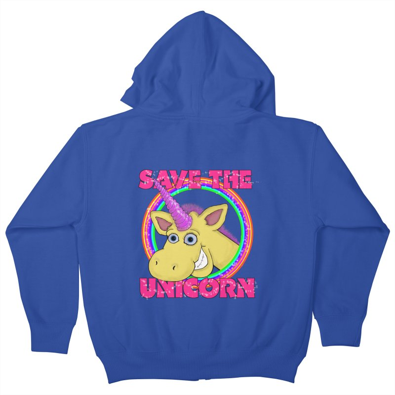 Save The Unicorn Kids Zip-Up Hoody by Loganferret's Artist Shop
