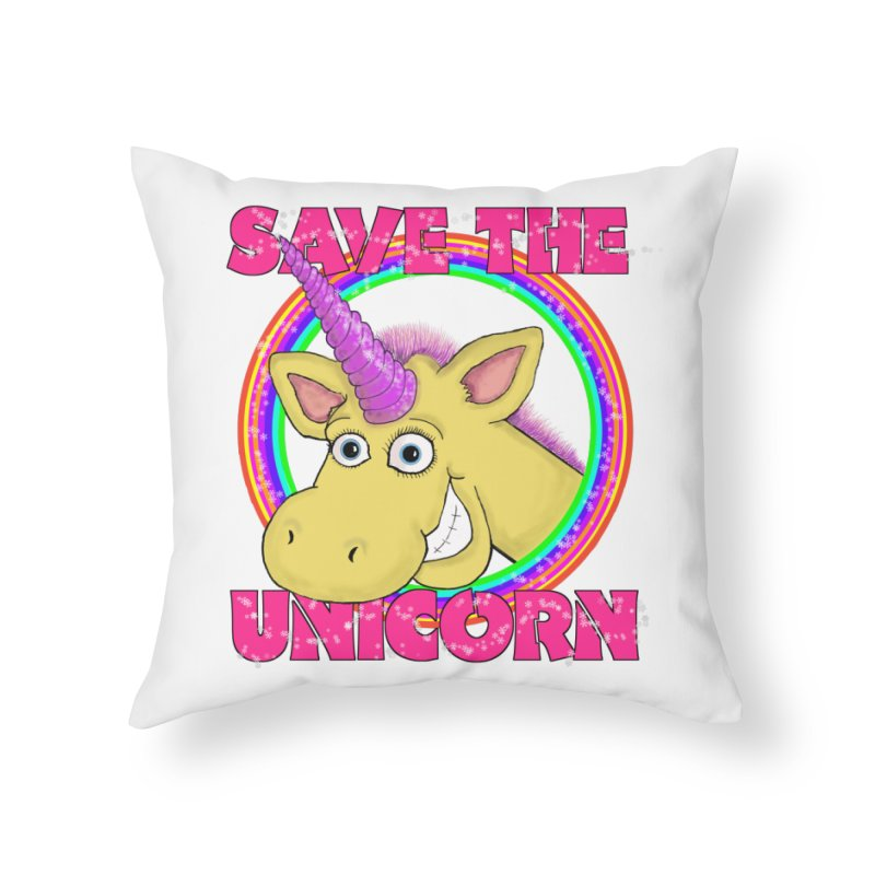 Save The Unicorn Home Throw Pillow by Loganferret's Artist Shop