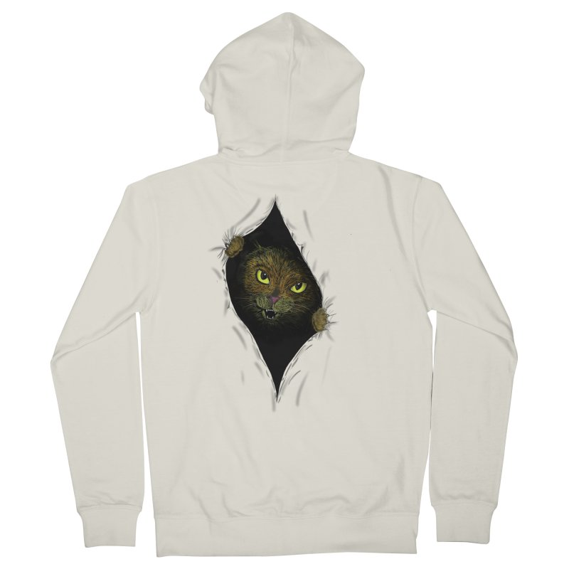Cat Flap? in Women's French Terry Zip-Up Hoody Heather Oatmeal by Loganferret's Artist Shop