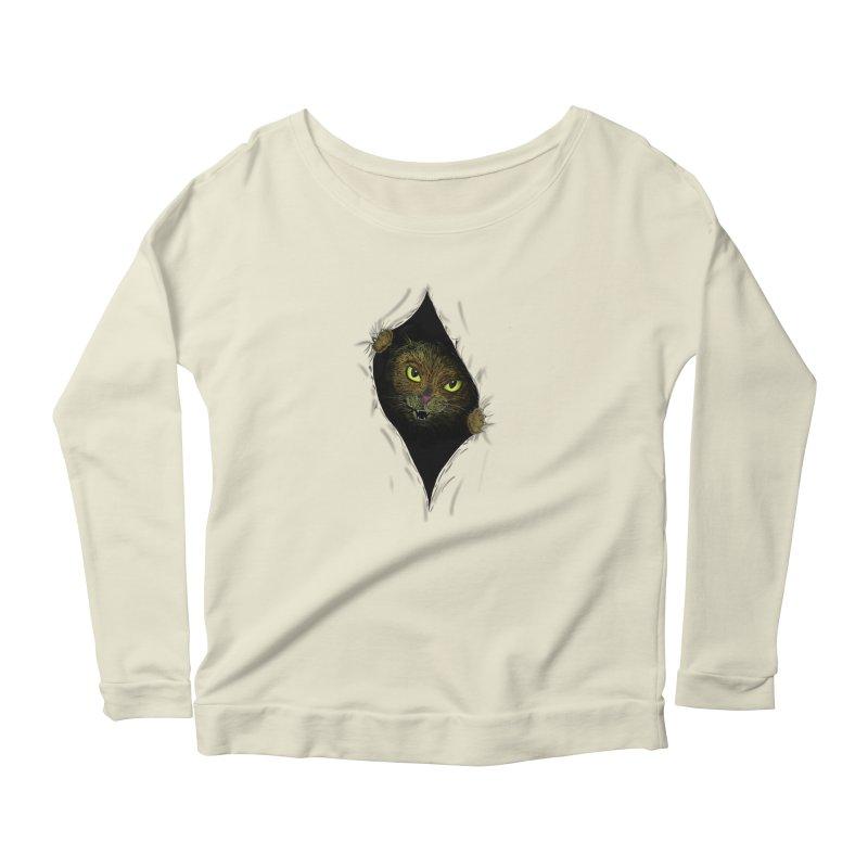 Cat Flap? Women's Scoop Neck Longsleeve T-Shirt by Loganferret's Artist Shop